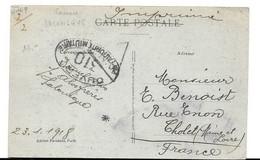C31 Carte Salonique Grèce Pour France Censure Marseille Et étoile Noire Recherche Encre Invisible (1918) - Guerra Del 1914-18