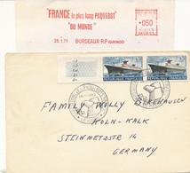 EMA 1971 - Bordeaux 28.1.71 & L 2 X 1325 Paquebot France 14.1.1962 Oblitéré Exp Des Paquebots France Le Havre - Freistempel