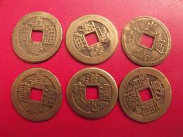 Lot De 6 Pièces De Chine, Sapèque, Sapèques. Trou Carré, Bronze, China, Trouée. Diam 22 Mm. à Identifier. - China