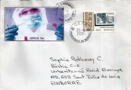 Covid-19,lettre De Monaco,adressée Principauté D'Andorre Pendant Confinement Avec Vignette Locale Prévention Coronavirus - Medicine