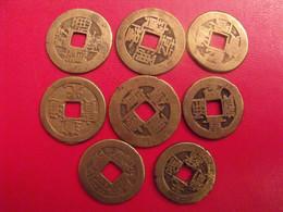 Lot De 8 Pièces De Chine, Sapèque, Sapèques. Trou Carré, Bronze, China, Trouée. Diam 22 Mm. à Identifier. - China