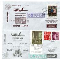 Tel-Aviv Athènes Paris 1975 - Airbus Air France - 2 X 1er Vol Flight Erstflug - Grèce Athens - Cartas