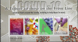 ST. VINCENT AND THE GRENADINES, 2020, MNH, HEALTH, COVID-19, A TRIBUTE TO THOSE ON THE FRONT LINE, SHEETLET - Otros