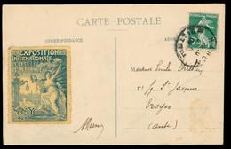 Timbre Exposition Internationale De L'Est Sur CPA NANCY -  Exposition 1909 - Aquarium -  Circulée - Nancy
