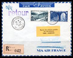 Lettre 1949 Aviation Paris - Hambourg Reko Brief Enveloppe Reco Reprise Vols Aériens - Cartas
