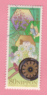 2006 GIAPPONE Farfalle Fiori Flowers Autumn Flowers & Japanese Oxcart For The Court Noble - 80 Y Usato - Gebruikt
