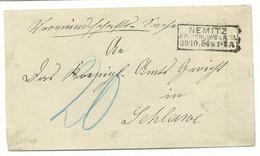 PREUSSEN Ra3 NEMITZ KR: SCHLAWE I.POM. Auf Brief 1884 Nach Schlawe Nachporto! RR!! - Preussen (Prussia)
