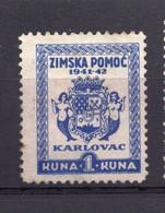 NDH, CROATIA, WINTER HELP 1941-42, KARLOVAC, 1 KUNA - Croacia