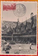 CM-Carte Maximum Card # France-1942 #(Yvert 539) #Architecture,Monuments #Hôtel-Dieu,Beaune # Obl. 1953 (Edit.Helio-Lorr - 1940-49