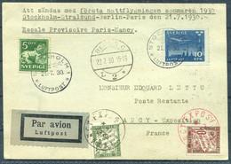 1930 Sweden Germany France First Night Flight Postcard Stockholm - Stralsund - Berlin - Paris - Nancy Exposition - Briefe U. Dokumente