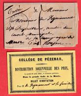 PEZENAS HERAULT CL NOIR TAXE 1 POUR ROUJAN 1846 + INVITATION DISTRIBUTION SOLENNELLE DE PRIX COLLEGE DE PEZENAS - 1801-1848: Precursori XIX