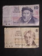 LOT 2 BILLETS ISRAËL (M19) 5 Et 10 Shekel (2 Vues) 1973 - Israel