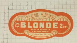 ETIQUETTE  BRASSERIE RESSORT MARCINELLE BLONDE - Beer