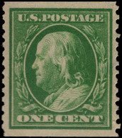 USA 1908-10 1c Green Imperf X Perf 12 Lightly Mounted Mint. - Unused Stamps