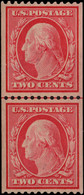 USA 1908-10 2c Carmine Guide-line Coil Pair Upper Stamp Unmounted Mint. - Unused Stamps