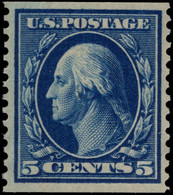USA 1908-10 5c Blue Imperf X Perf 12 Lightly Mounted Mint. - Unused Stamps