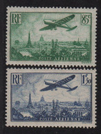 PA N°8 + N°9 - Avion Survolant Paris - ** Neufs Sans Charniere - Cote 40€ - 1927-1959 Mint/hinged