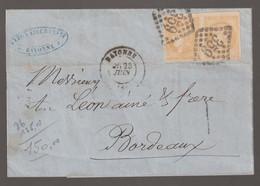 Affranchissement à 20c  Sur Lettre De Bayonne Pour Bordeaux - 1870 Bordeaux Printing