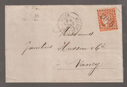 Affranchissement à 40c  Sur Lettre De Lille Pour Nancy - 1870 Emission De Bordeaux