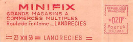 EMA (Empreintes Machines à Affranchir E.M.A Enveloppe Minifix Grands Magasins Route De Fontaine Landrecies 23.12.1956 - EMA (Printer Machine)