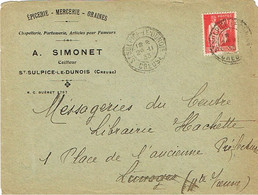 ENVELOPPE  A EN-TETE EPICERIE MERCERIE GRAINES A.SIMONET ST SULPICE LE DUNOIS CREUSE FACTEUR-BOITIER - 1921-1960: Periodo Moderno