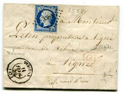 MAINE ET LOIRE De VEZINS LAC Du 11/02/1856 Avec N°14 Oblitéré PC 3584 De VIHIERS DOUBLE PORT LOCAL !!!!!!! - 1849-1876: Classic Period