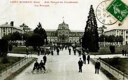 CPA VAL DE MARNE SAINT MAURICE ASILE NATIONALE DES CONVALESCENTS VUE PRINCIPALE TRES ANIMEE 1911 ELD - Saint Maurice