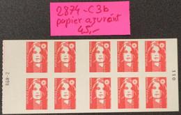 Carnet N° 2874-C3b (Papier Azurant) Neuf ** Avec N° RGR-2  TTB - Definitives