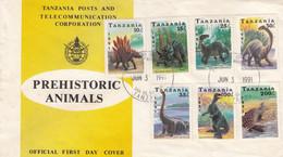Tanzania 1991: Dinosaurs, Prehistoric Animals, FDC - Prehistorics