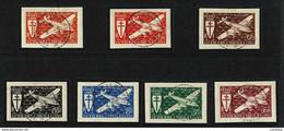 SAINT PIERRE MIQUELON 1942 Série Londres FRANCE LIBRE Les 7 Valeurs Poste Aérienne Sur Fragment Cachet Tireté 9-5-44 SUP - Oblitérés