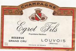 Etiquette Champagne Egrot Fils à Louvois / RESERVE GRAND CRU / Magnum - Champagne