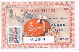 BILLETS DE LOTERIE   NATIONALE    PARACHUTISTES  1957  N°402809  BE  LN01 - Loterijbiljetten