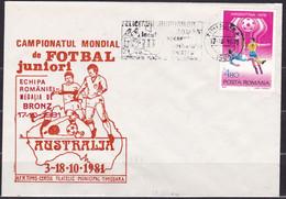 Romania, 1981, Junior Soccer World Cup, Commemorative Cover - Storia Postale