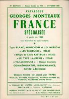 Georges MONTEAUX 1985 - Spécialisé France 29ème Edition - A Partir De 1900 - Auktionskataloge