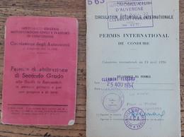 Permis De Conduire Italien De1948 + Permis De Conduire International De 1954 Automobile Voiture - Coches