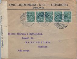 1915 , SUOMI / FINLANDIA , ADMINISTRACIÓN RUSA , SOBRE CIRCULADO ULEABORG - MANCHESTER , CENSURA , TRÁNSITO - Covers & Documents