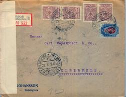 22/01/1918  SUOMI / FINLANDIA ,  SOBRE CERTIFICADO , ADMINISTRACIÓN RUSA , HELSINKI - ELBERFELD , CENSURA , LLEGADA - Briefe U. Dokumente