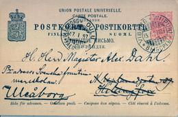 1897  SUOMI / FINLANDIA  ,  TARJETA ENTERO POSTAL CIRCULADA , WIIPURI - HELSINKI , REDIRIGIDO A ULEABORG , LLEGADA - Postal Stationery