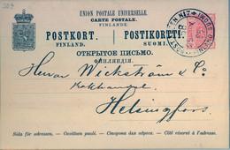 "1888  SUOMI / FINLAND  ,  TARJETA ENTERO POSTAL CIRCULADA , ABO - HELSINKI , MAT. "" POST KUPEN Nº 7 "" - Postal Stationery"