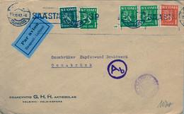 1943 SUOMI / FINLAND  ,  SOBRE CIRCULADO , HELSINKI - OSNABRÜCK , CORREO AÉREO , CENSURAS - Storia Postale