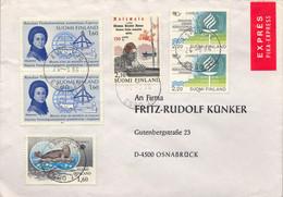 1986 SUOMI / FINLAND  ,  SOBRE CIRCULADO , ESPOO - OSNABRÜCK  , FRANQUEO MÚLTIPLE - Storia Postale