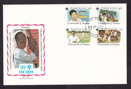 Dominica: FDC First Day Cover, 1979, 4 Stamps, Child, Children, Banana, Cricket, Rabbit, Canoe (white Tape At Back) - Dominique (1978-...)