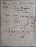 61 - FACTURE - BRIOUZE - Chiffons Pour Papeterie - Marc BELLOEIL - 1909 - Textilos & Vestidos