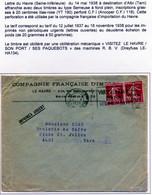 Lettre Le Havre 1938 CFI 118 Imprimés Urgent - Perfin