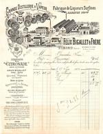 DE 309 - Facture Du Felix Bigallet , Grande Distillerie A Vapeur, Fabrique De Liqueurs Sufines, Virieu (Isere) 1904 - 1900 – 1949
