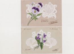 2 Cartes Fantaisie Gaufrées / Pensées , Violettes  Sur Fond De Dentelle En Relief - Other