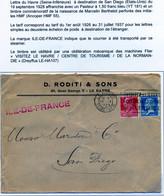 Lettre Le Havre 1928 HMF 55 - Perfin