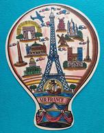 """Pubicité Cartonnée Montgolfière Air France  Recto """"Paris"""", Verso """"reste Du Monde"""" - Havas Tudeau - éventail ? - Pubblicità"""