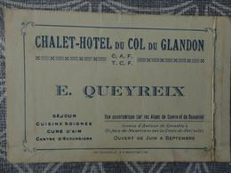 73 CDV CHALET HOTEL DU COL DU GLANDON  E QUEYREIX 12 X 6 CM - Visitekaartjes