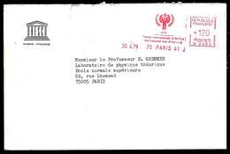 1979 Lettre En-tête EMA G 2253 UNESCO Paris - Année Internationale De L'Enfant - International Year Of The Child - Affrancature Meccaniche Rosse (EMA)